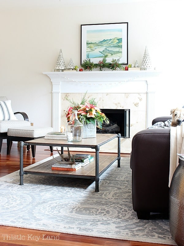 Poinsettia on coffee table with fireplace in back ground.