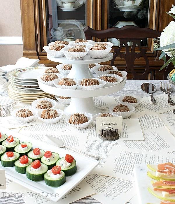 Cake stands holding mini bundt cakes.