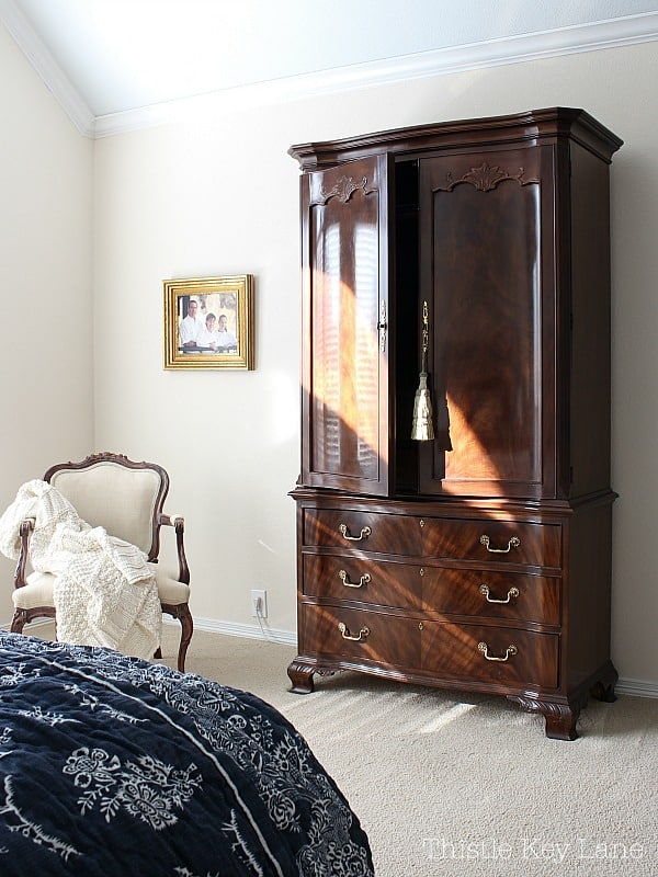 Armoire and a French style chair.