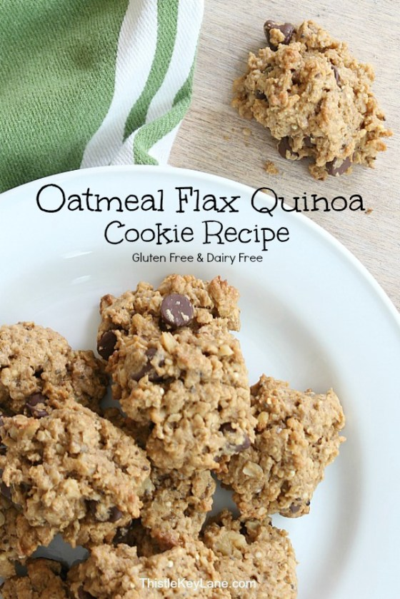 Flat lay of Oatmeal Flax Quinoa Cookies on white plate.