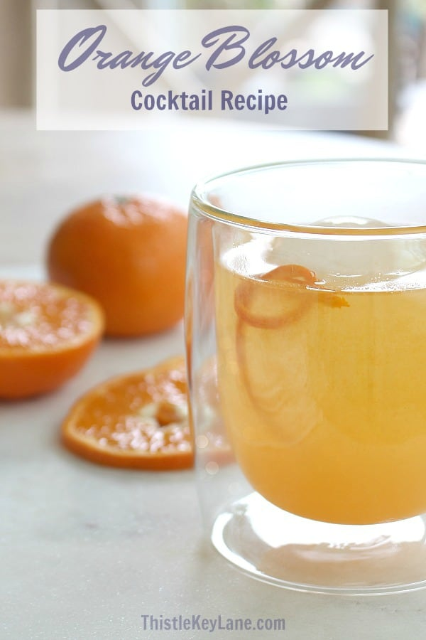 Close up of an orange cocktail in a clear glass with sliced oranges on white marble.
