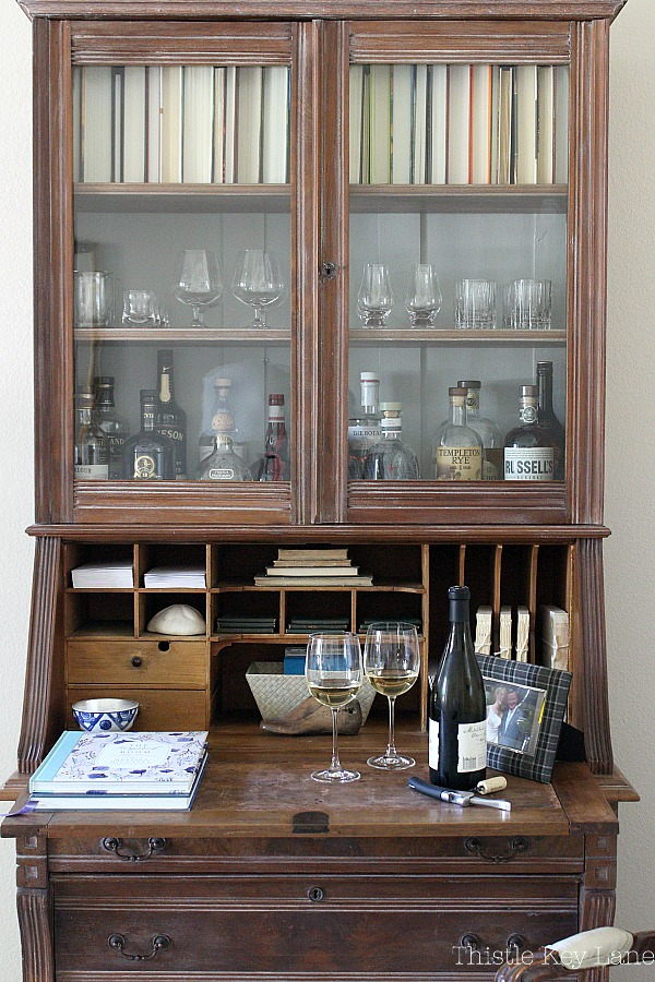Secretary repurposed into a liquor cabinet.