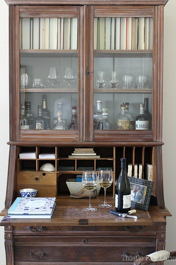 Secretary repurposed into a liquor cabinet.