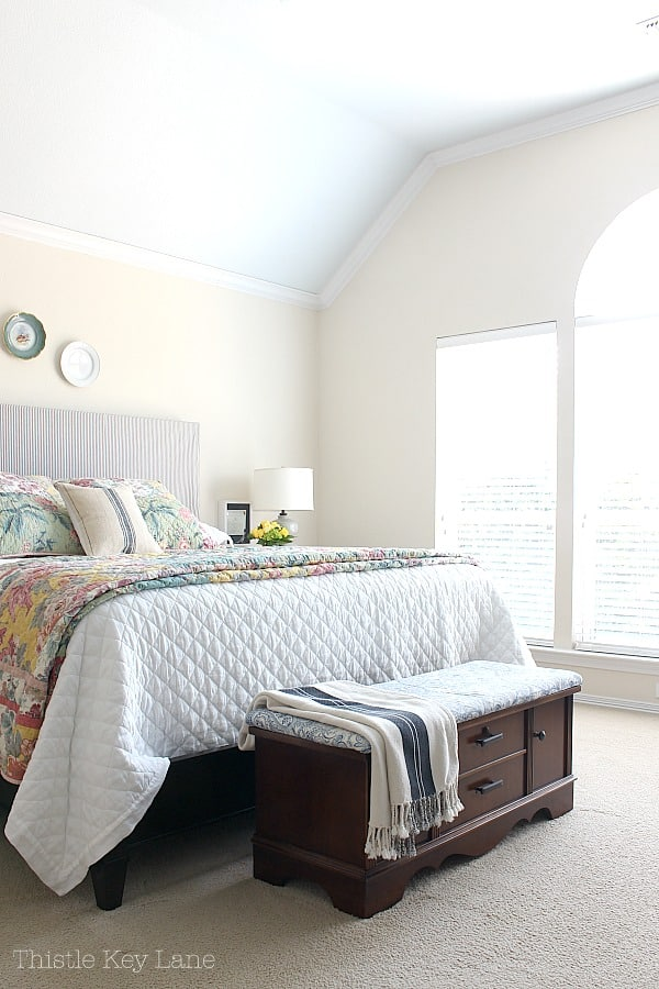 Updating a bedroom with patterns on furniture and bedding.