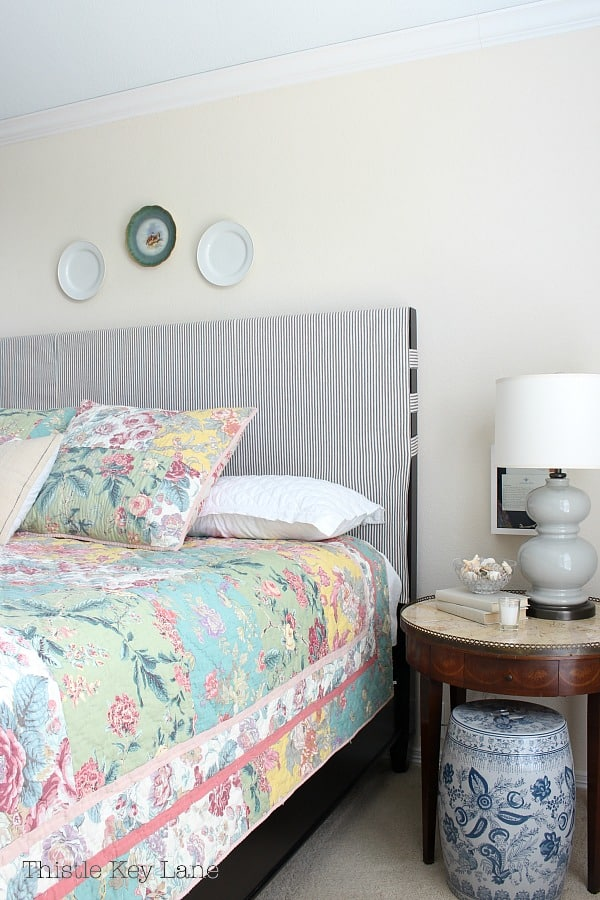 Updating a bedroom with patterns on bedding.