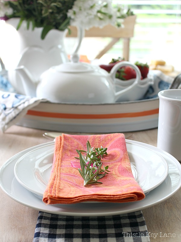 Place setting for a cottage tea party.