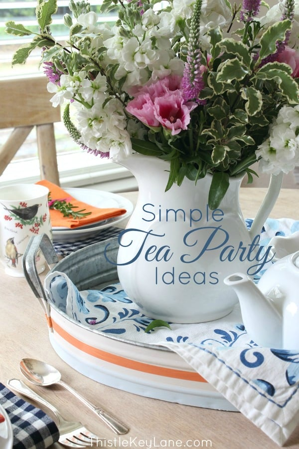 Cottage style table setting for a tea party.