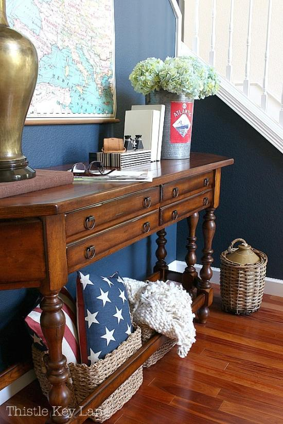 Entry table with easy ways to decorate with red, white and blue.