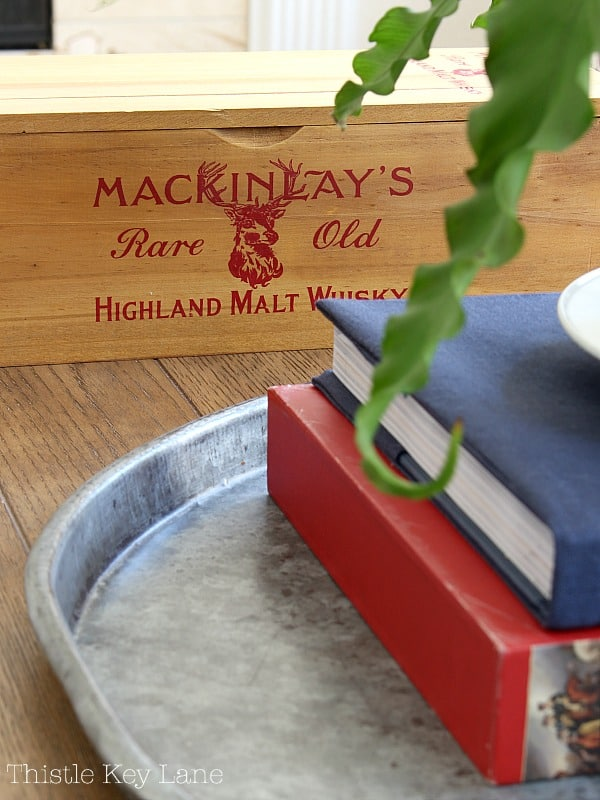 Whisky crate for coffee table decor.
