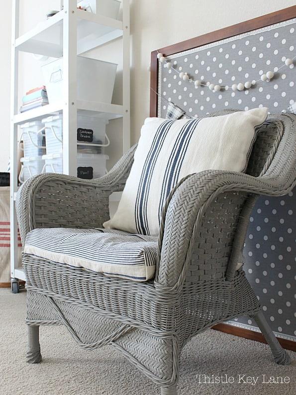 DIY slipcover chair cushion.