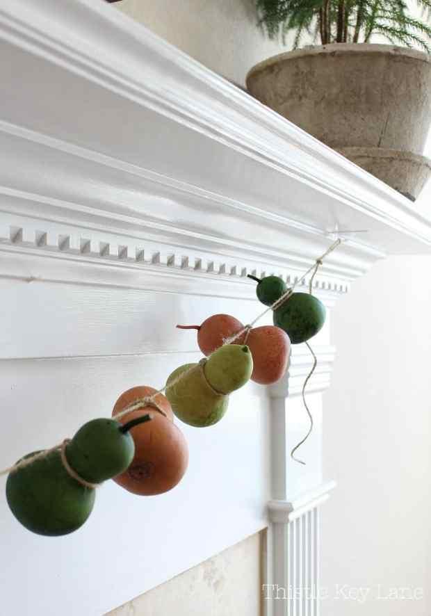 Green and orange gourd garland.