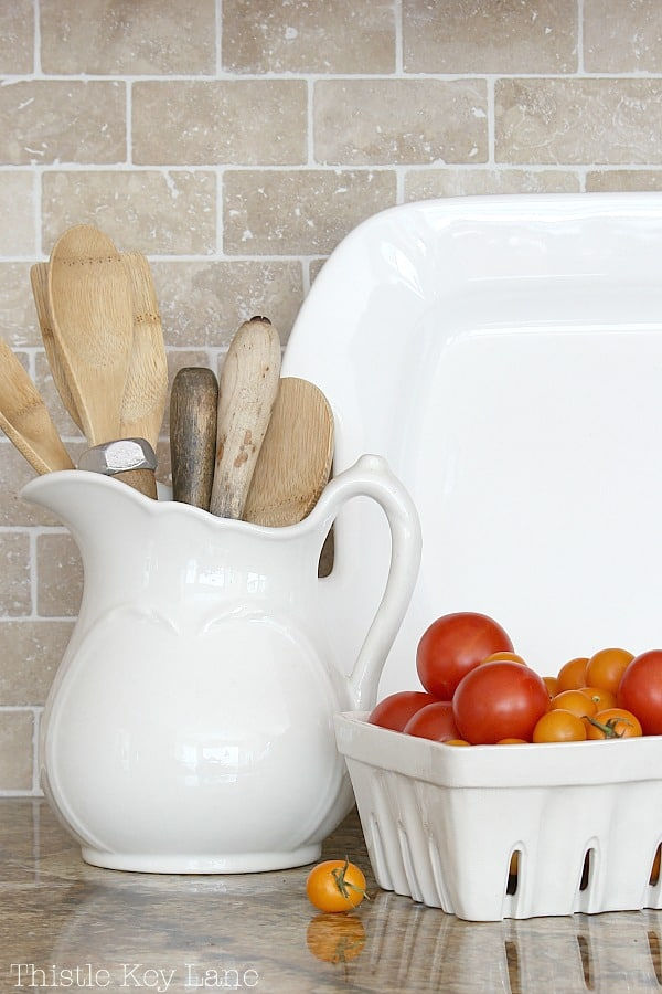 Transitioning Summer To Fall Kitchen Ideas with vintage ironstone.