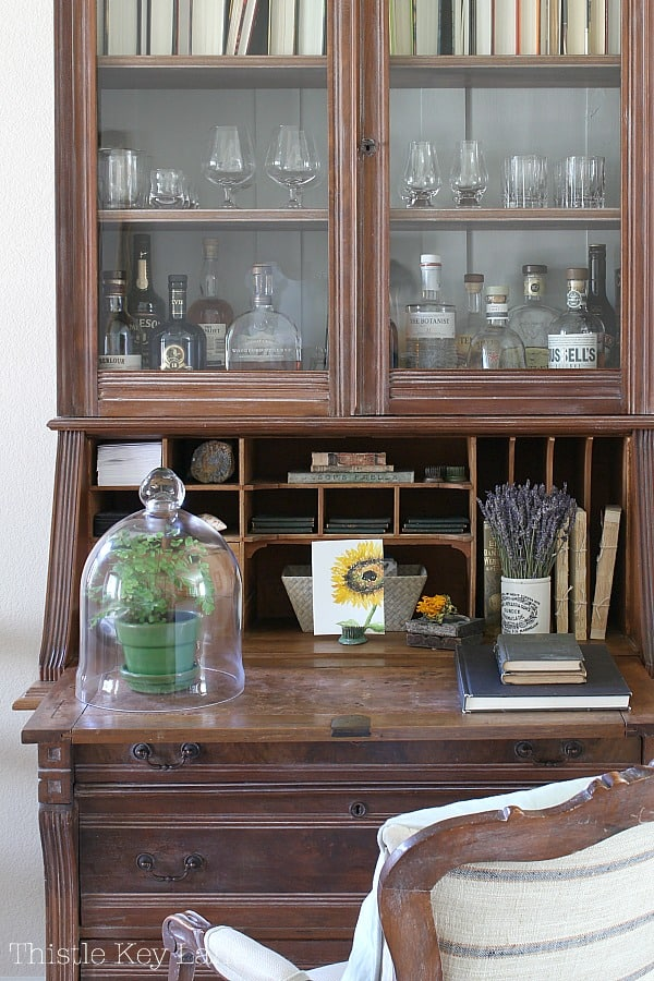 Simple Fall Home Decor Ideas - Secretary desk with seasonal fall decor.
