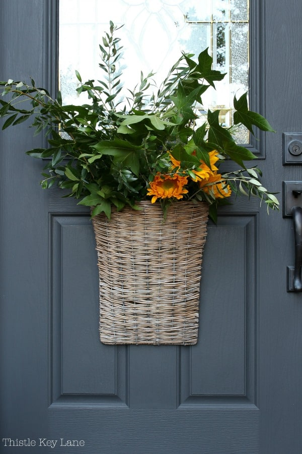 Willow Basket Door Arrangement For Early Fall