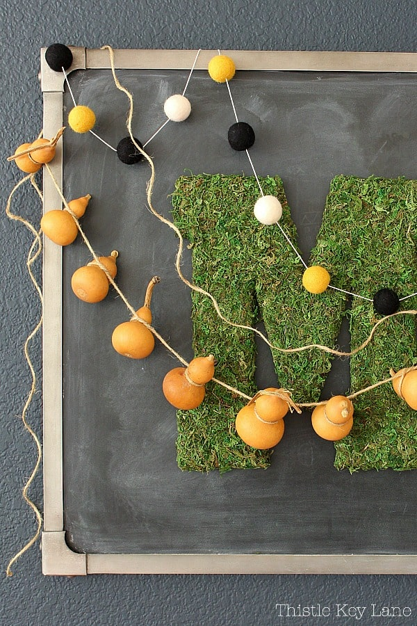 Mini natural gourd garland on a chalkboard.