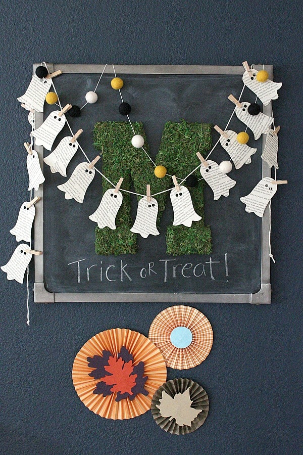 DIY Book Page Ghost Garland and festive fall paper medallions.