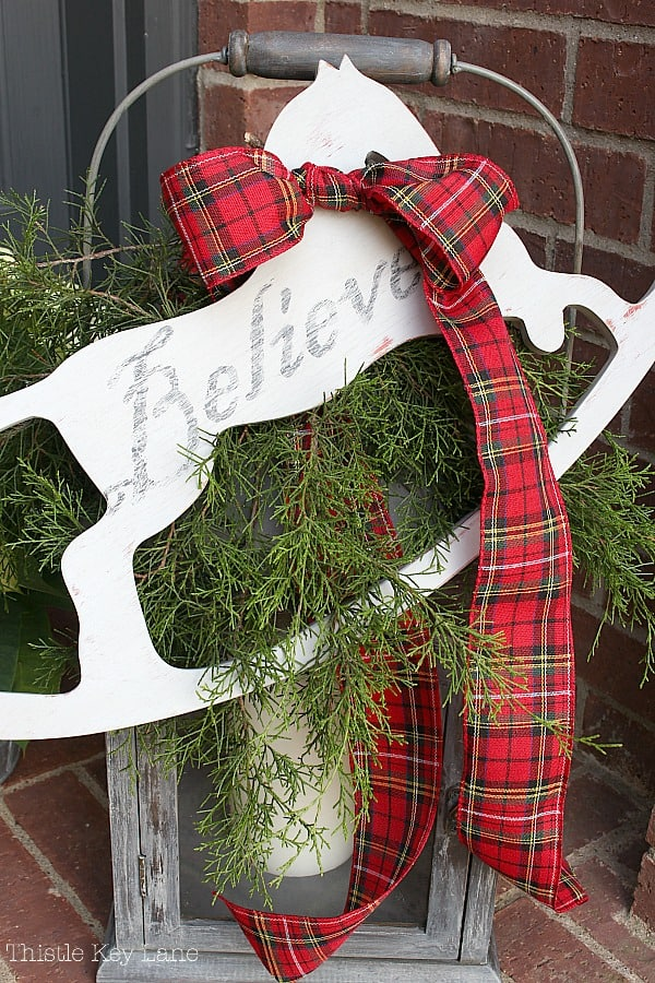 Lanter decorated with rocking horse cut-out and