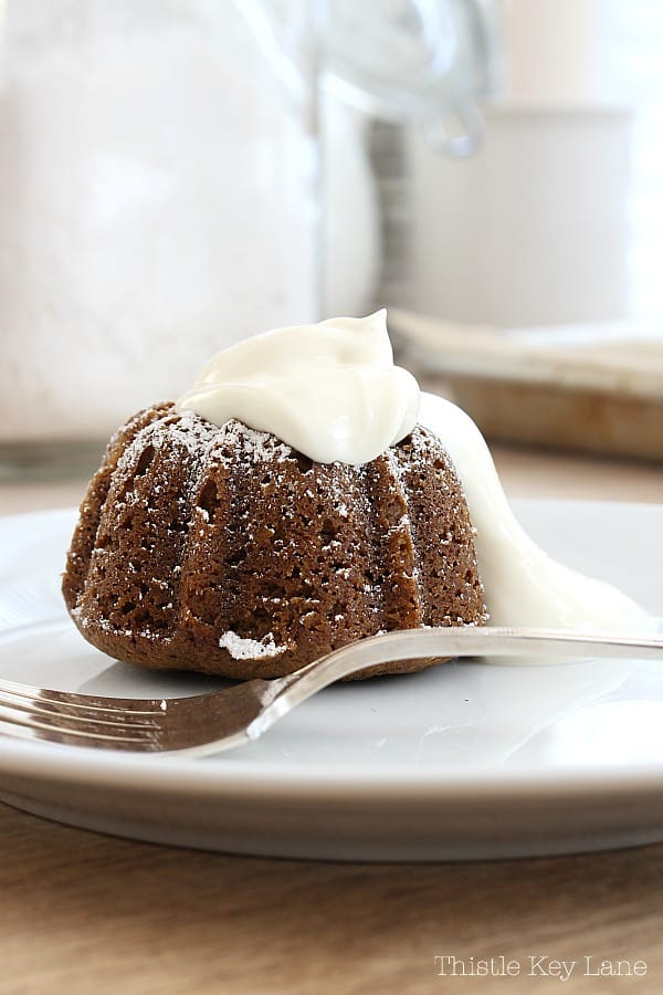 Mini Gingerbread Cake Recipe with Vanilla Sour Cream Sauce