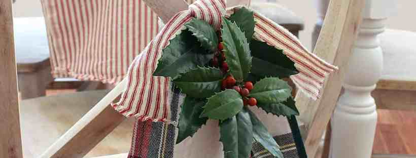 Vintage Ticking And Plaid Holiday Tablescape
