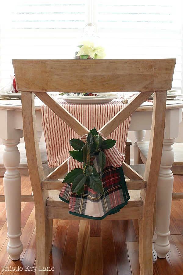 Plaid and ticking chair back sway.