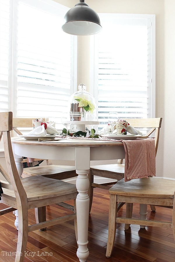 Vintage Ticking And Plaid Holiday Tablescape for a farmhouse table.