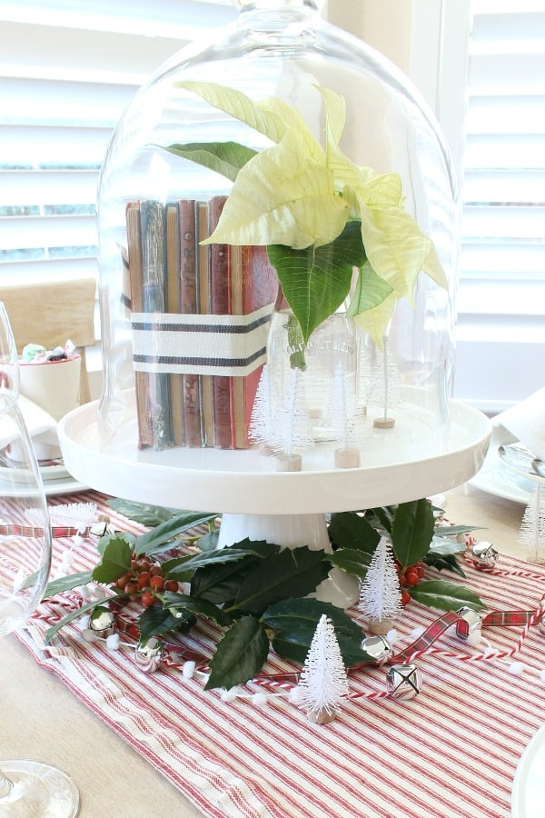 Vintage Ticking And Plaid Holiday Tablescape with cloche centerpiece.