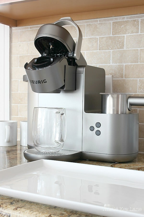 Stylish Keurig coffee maker.