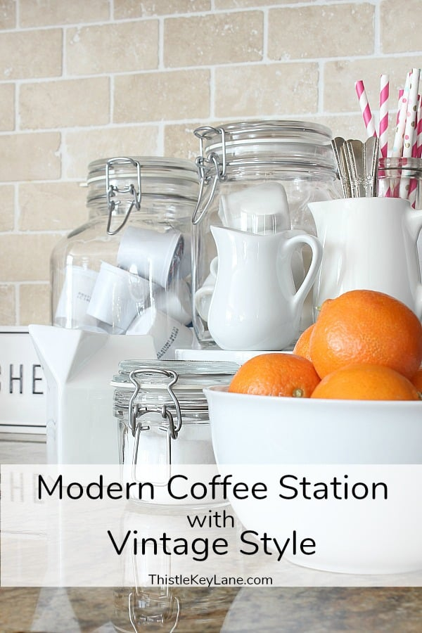 Modern Coffee Station With Vintage Style Jars and Creamers.