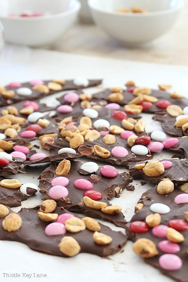 Dark Chocolate Bark broken into pieces.
