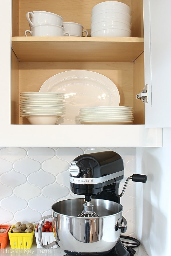 Easy Kitchen Organizing Tips for dishes.