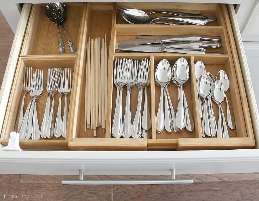 Bamboo drawer organizer for flatware.