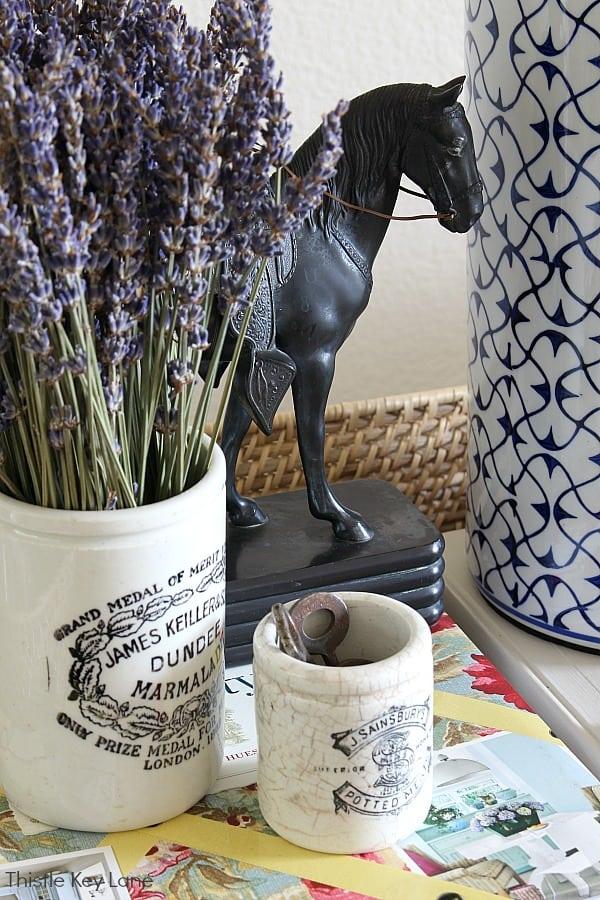 Dried lavender and vintage crocks.