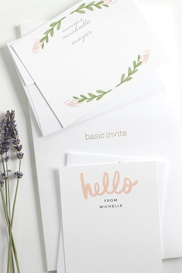 Personal stationery with pink accents.