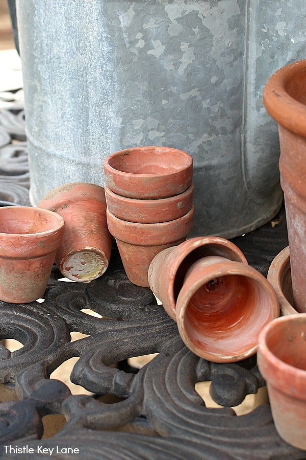 DIY Aging Terracotta Pots - collection.