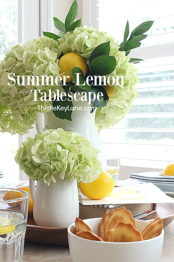 Summer Lemon Tablescape With Hydrangeas.