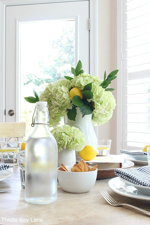 Green hydrangea and lemon tablescape - Summer Lemon Tablescape And A Free Printable.