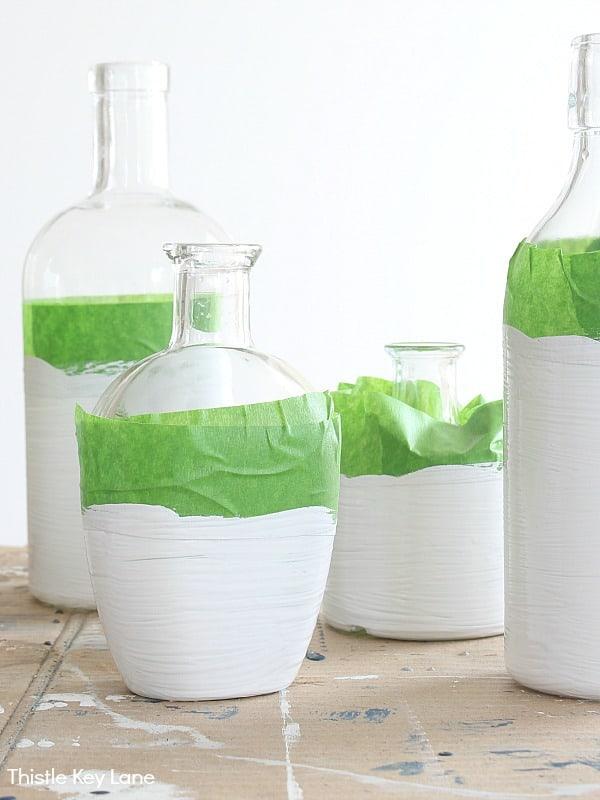 One coat of chalk paint on bottles.