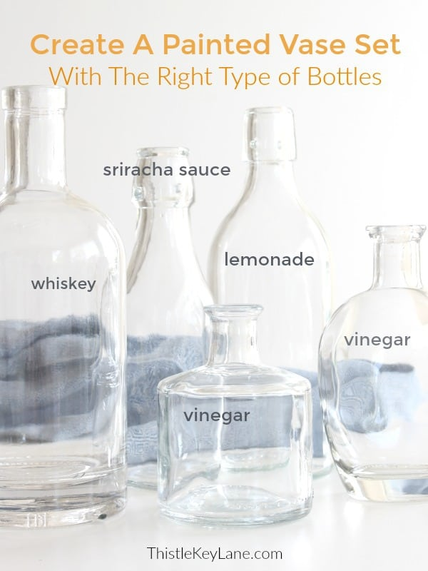 Glass bottle display for a project - How To Create Vases With Chalk Paint