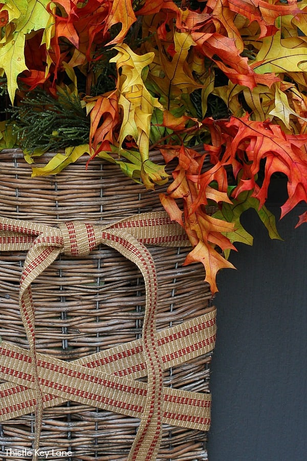 Fall Door Basket Arrangement - Fall Decorating Ideas For A Small Porch.
