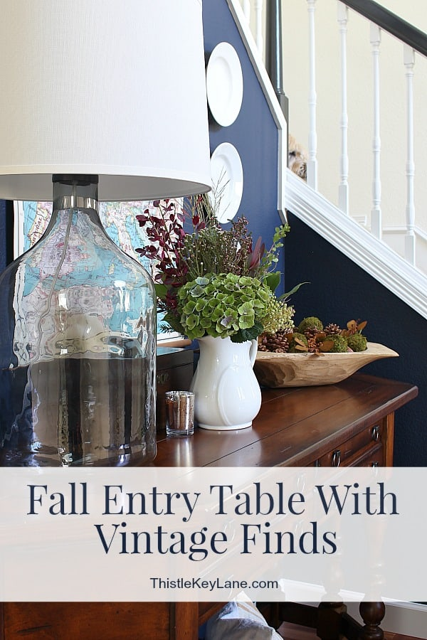 Styling A Simple Fall Entry Table With Vintage Ironstone And Wooden Bowl.