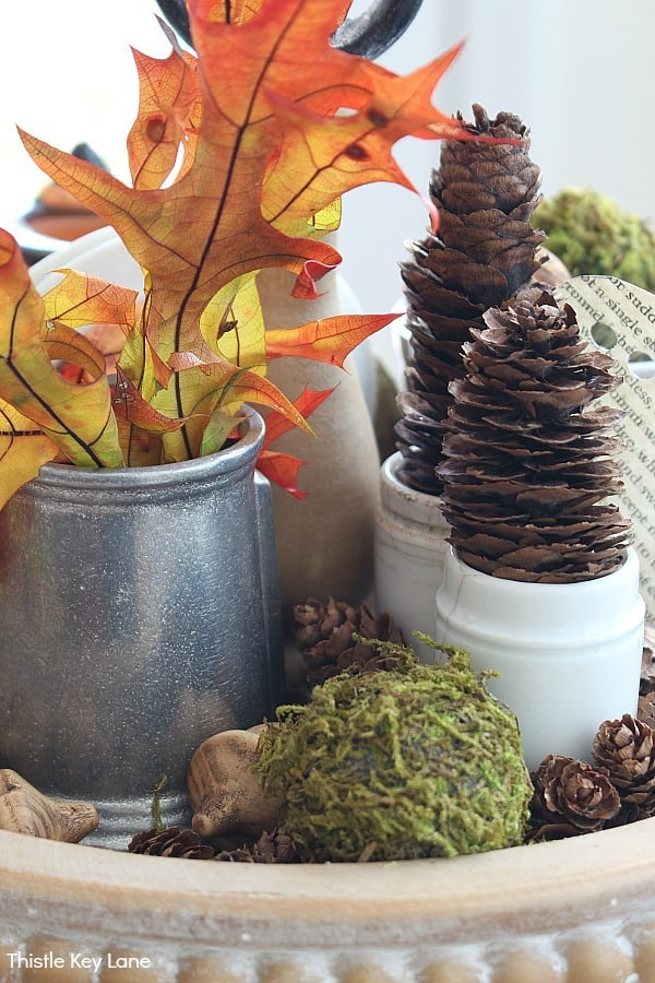 Pinecone Topiaries And Fall Leaves - Create A Last Minute Halloween Tiered Tray.