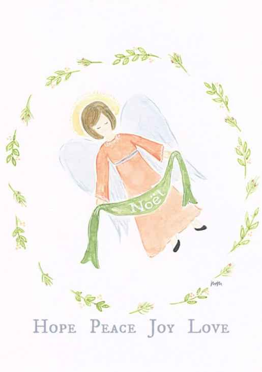 Watercolor angel with text hope, peace, joy and love. Holiday Wishes And An Angel Printable.