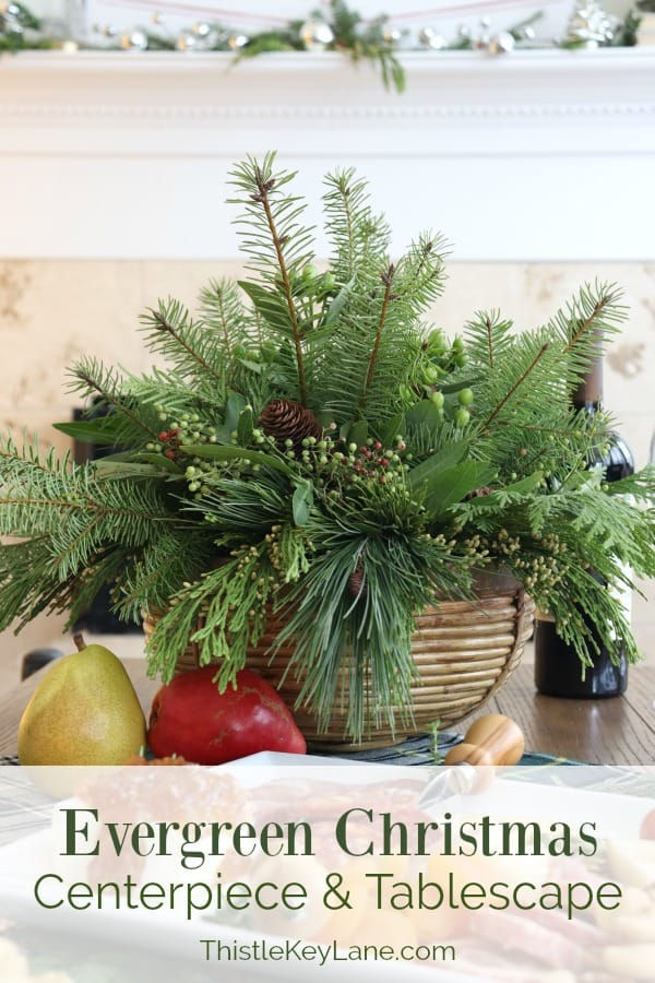Evergreen Christmas Centerpiece And Tablescape.