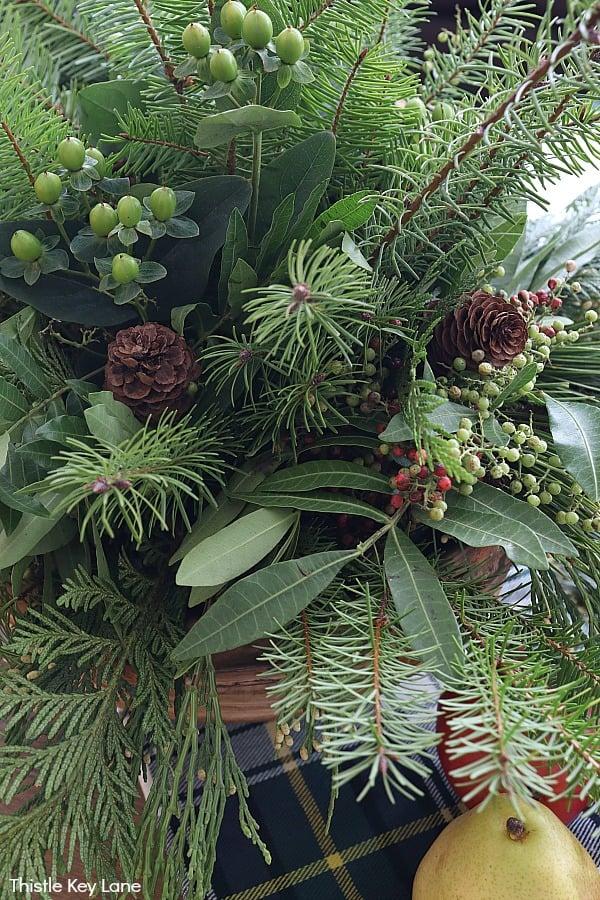 Evergreen arrangement with pinecones.