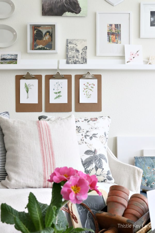 Gallery wall behind love seat - Winter Botanical Inspired Vignette.