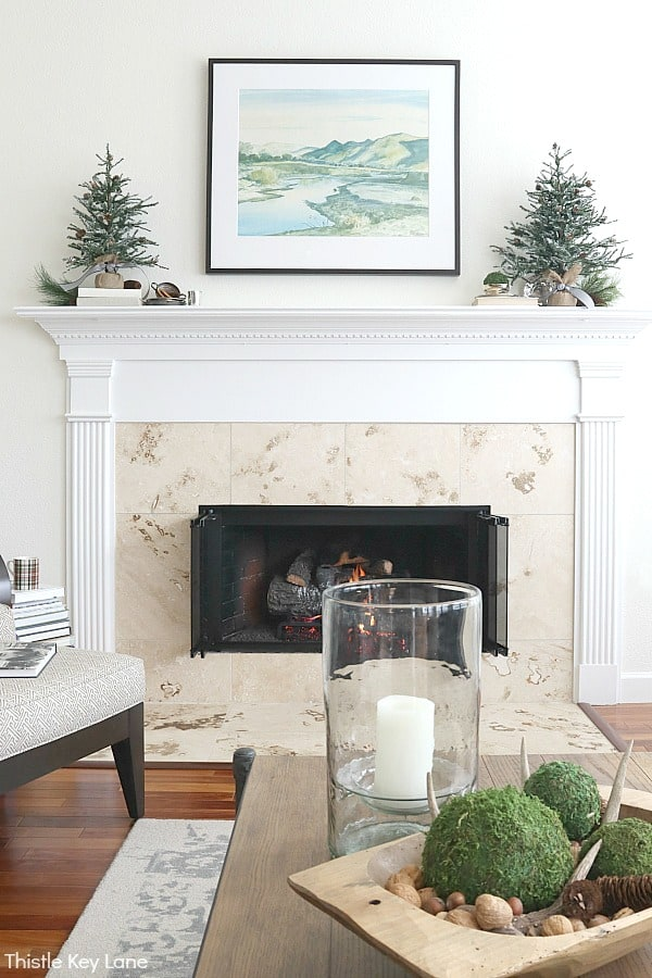 Fireplace with white mantel and pine tree vignettes. Transitioning From Holiday To Winter Decor - Use these simple winter decorating ideas to make your home feel warm and cozy after the holidays. Winter Decorating Ideas. Winter Decorating After Christmas. How To Make A Home Feel Cozy. Decorating With Faux Pine Trees. Decorating With Vintage Silver.