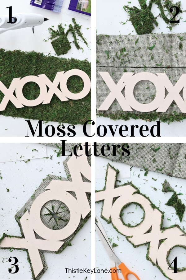 Step by step tutorial -How To Make Moss Covered Letters For A Valentine Vignette.