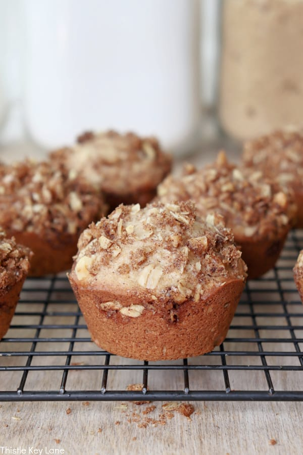 Side view of muffins on a wire rack. Coffee Cake Muffin Recipe.