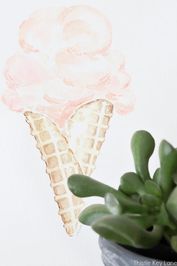 Ice Cream Cone Watercolor.