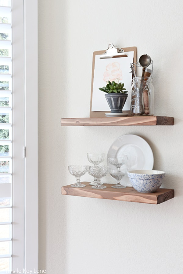 Easy Ways To Style Floating Shelves With An Ice Cream Theme.